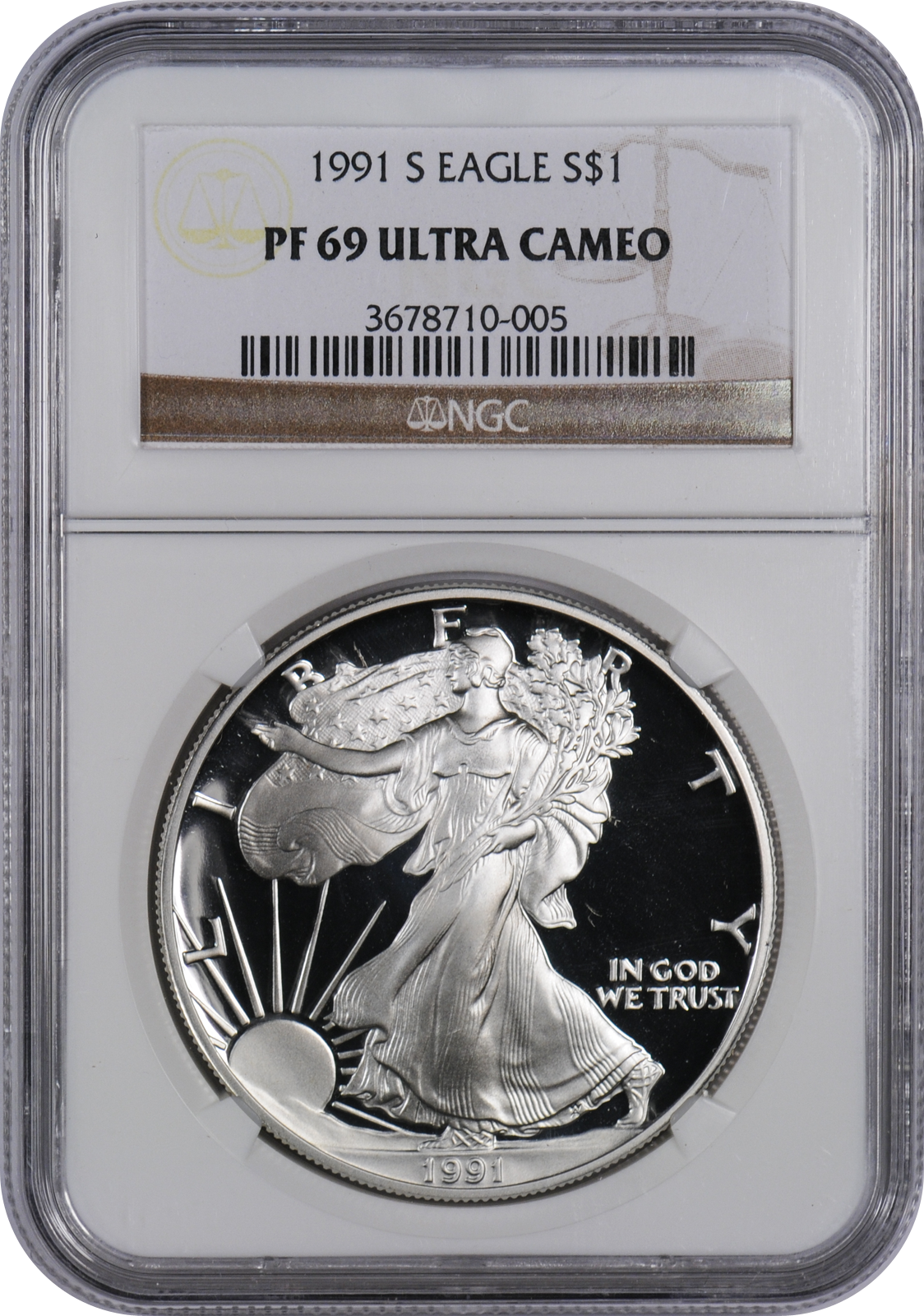 This 1991 S Silver Eagle Pf69 Uc Is A Popular Coin For Investors And Collectors Alike This Coin Has A Face Value Of One Us Do Eagle Eagle Coin Silver Bullion
