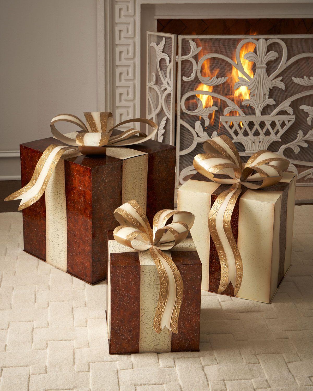 Three Metal Nesting Gift Boxes Decor, Christmas wood