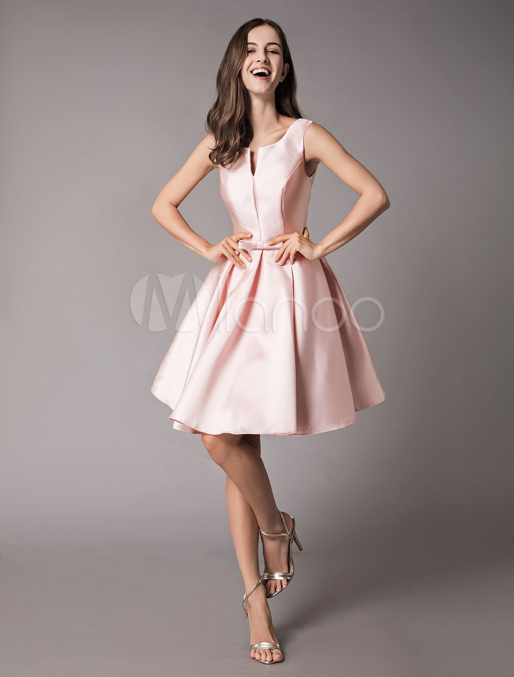 c272656a95f751 Satin Cocktail Dresses Soft Pink A Line Sleeveless Short Prom Dress ...