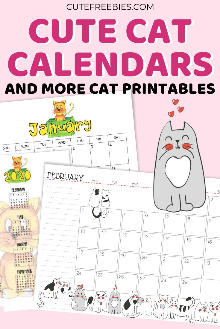 Printable Cat Calendar 2020 And More Cat Printables! em