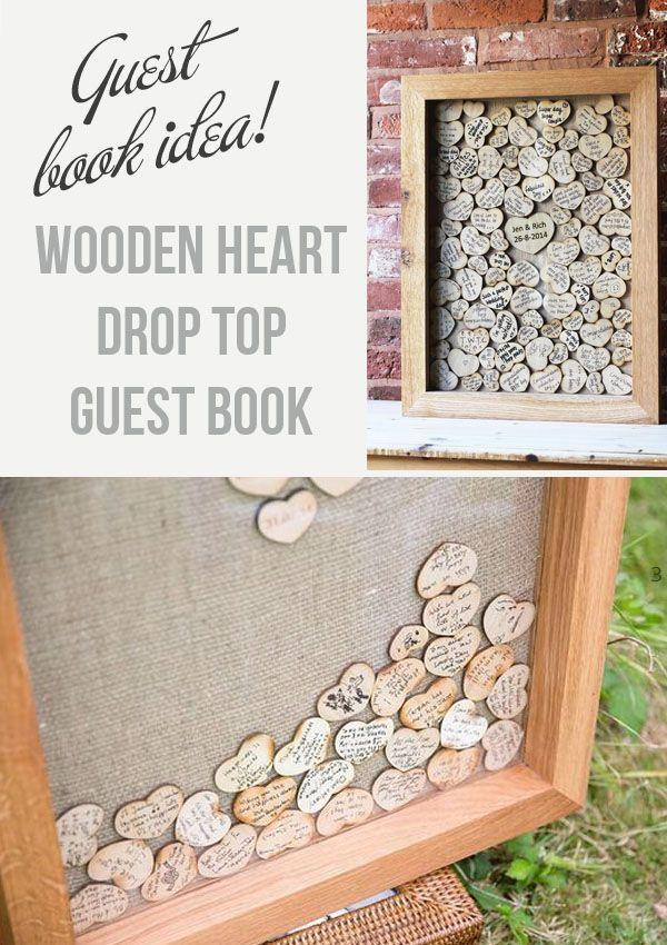 Drop Top Wooden Heart Guest Book – For Sale
