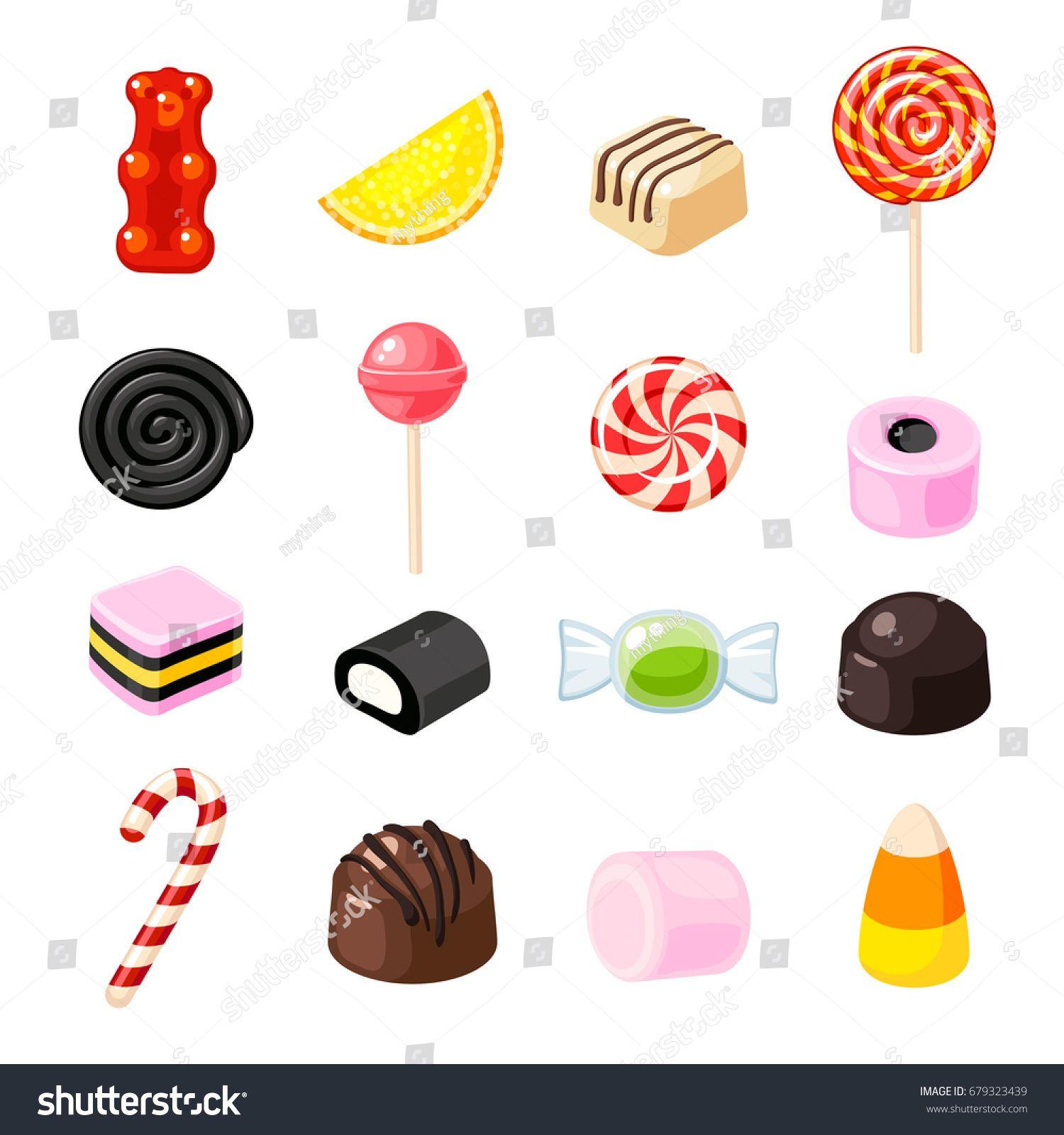 Set single cartoon candies lollipop, candy cane, bonbon