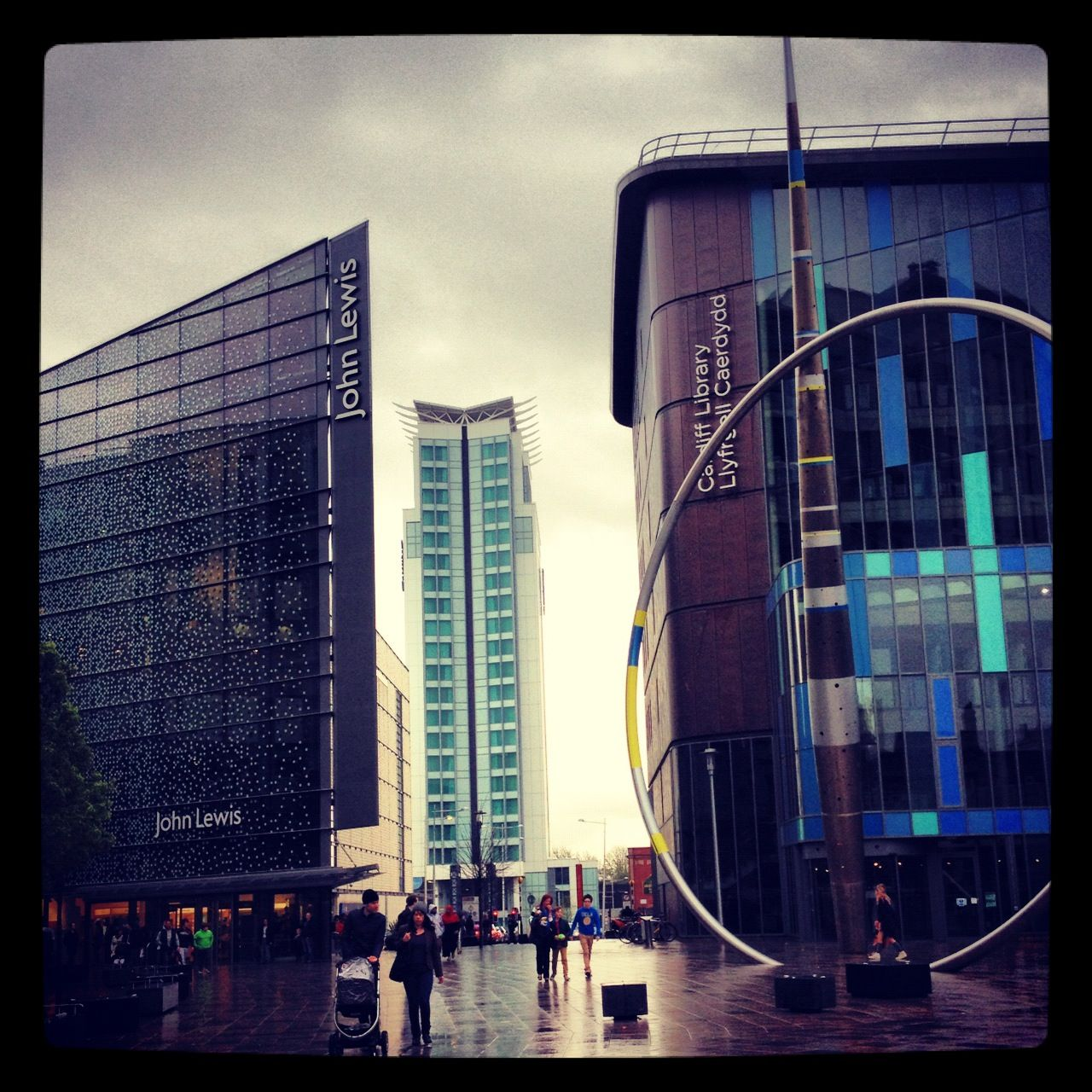 Cardiff City. The St.Davids Shopping Center, Cardiff Library, and in the background is the Radisson Blu Hotel