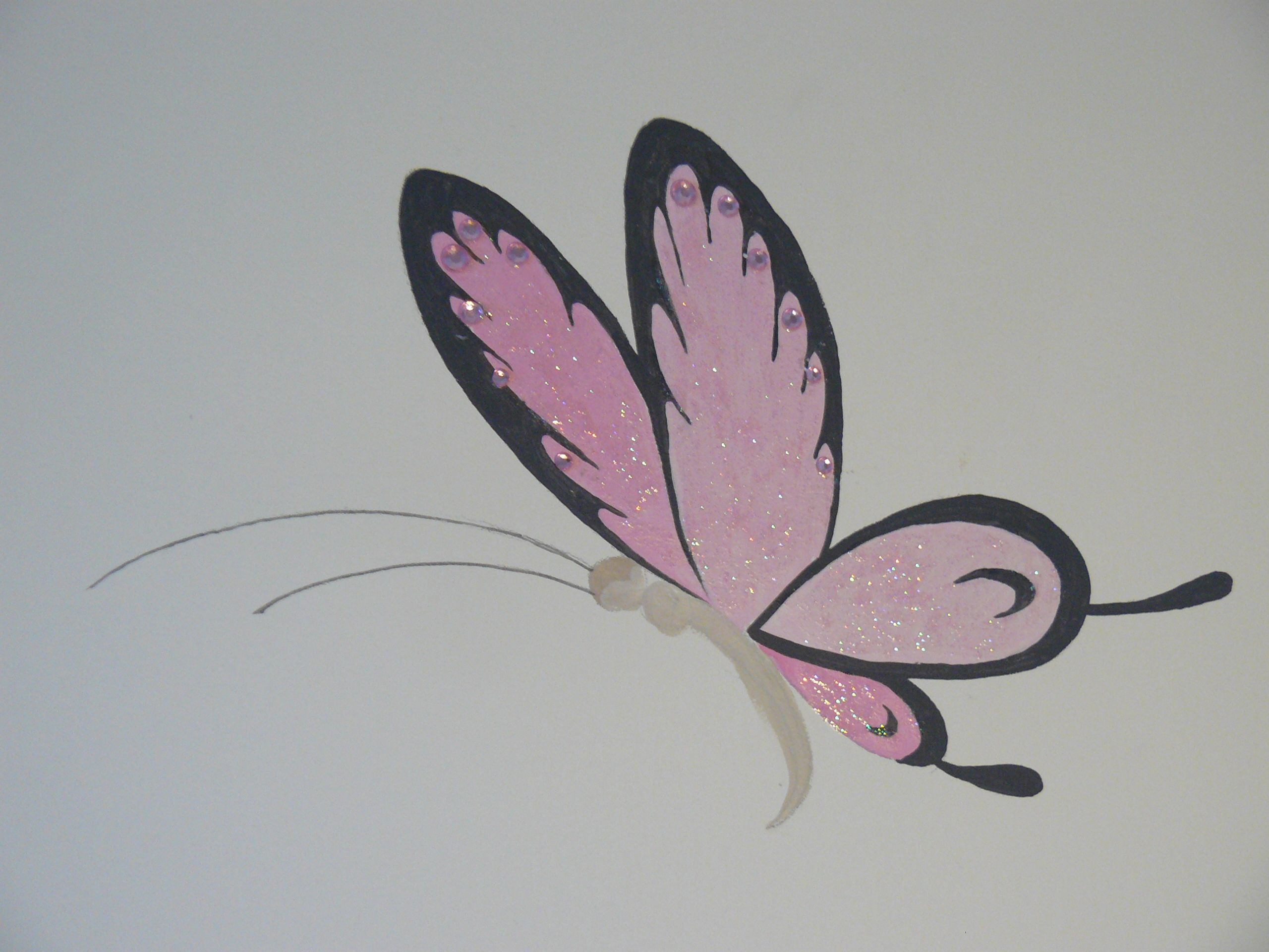 Muurschildering babykamer van me to you beer close up vlinder voorzien van glitters en strass - Nieuw muurschildering ...