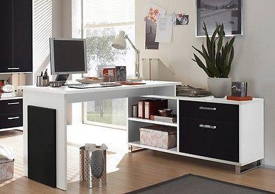Schreibtisch Pc Tisch Computertisch Eckschreibtisch Ecktisch Buro Weiss Schwarz Home Corner Desk Desk