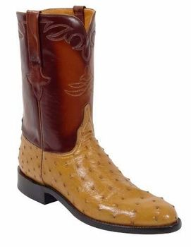 Mens Lucchese Classics Saddle Tan Quill Ostrich Custom Hand-Made Roper Boots L3086