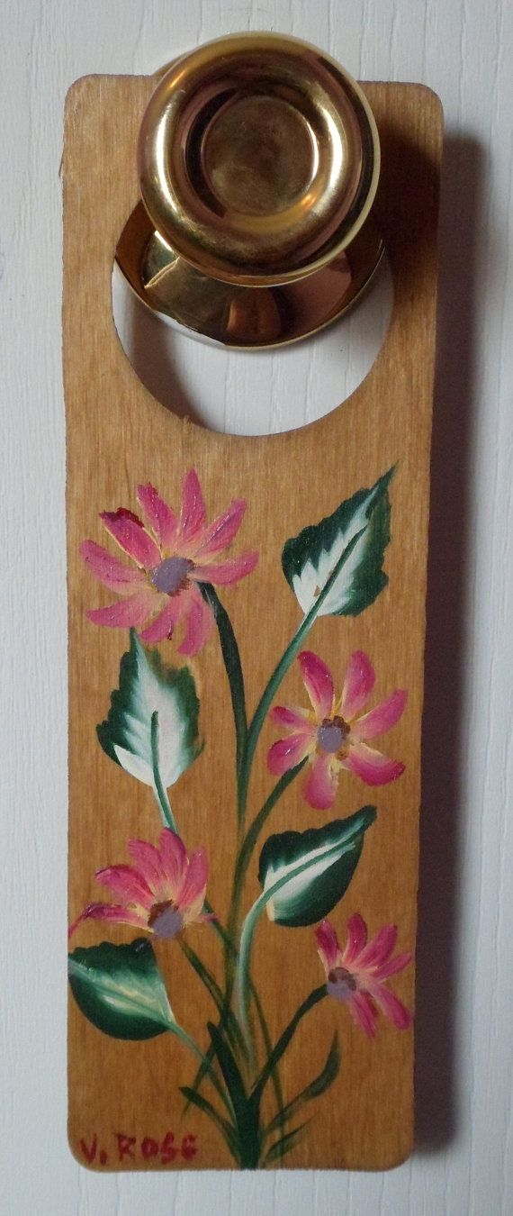 Wooden Door Knob Hanger pink wild flowers by EnchantedRoseProduct, $5.00 XMAS15 gives 15% off domestic sales (no GC) through Christmas - act now!