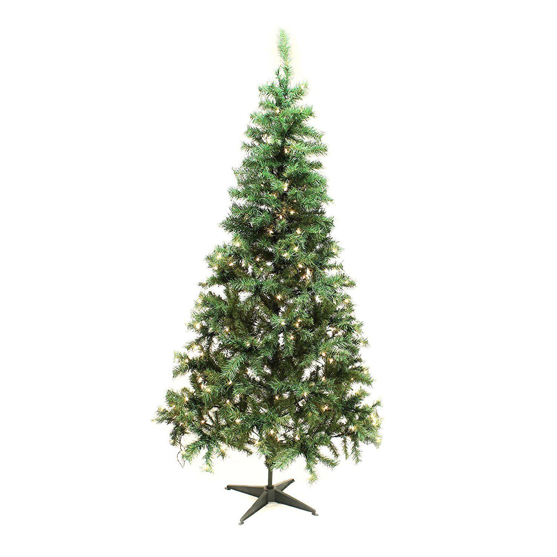 ALEKO® ACT01 Pre-lit Artificial Christmas Tree Holiday Pine Tree ...