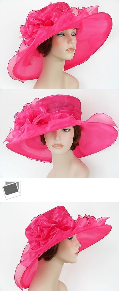 650525466da47 Womens Formal Hats 131476  New Church Kentucky Derby Wedding Organza Wide  Brim Dress Hat 3546 Hot Pink -  BUY IT NOW ONLY   36.99 on eBay!