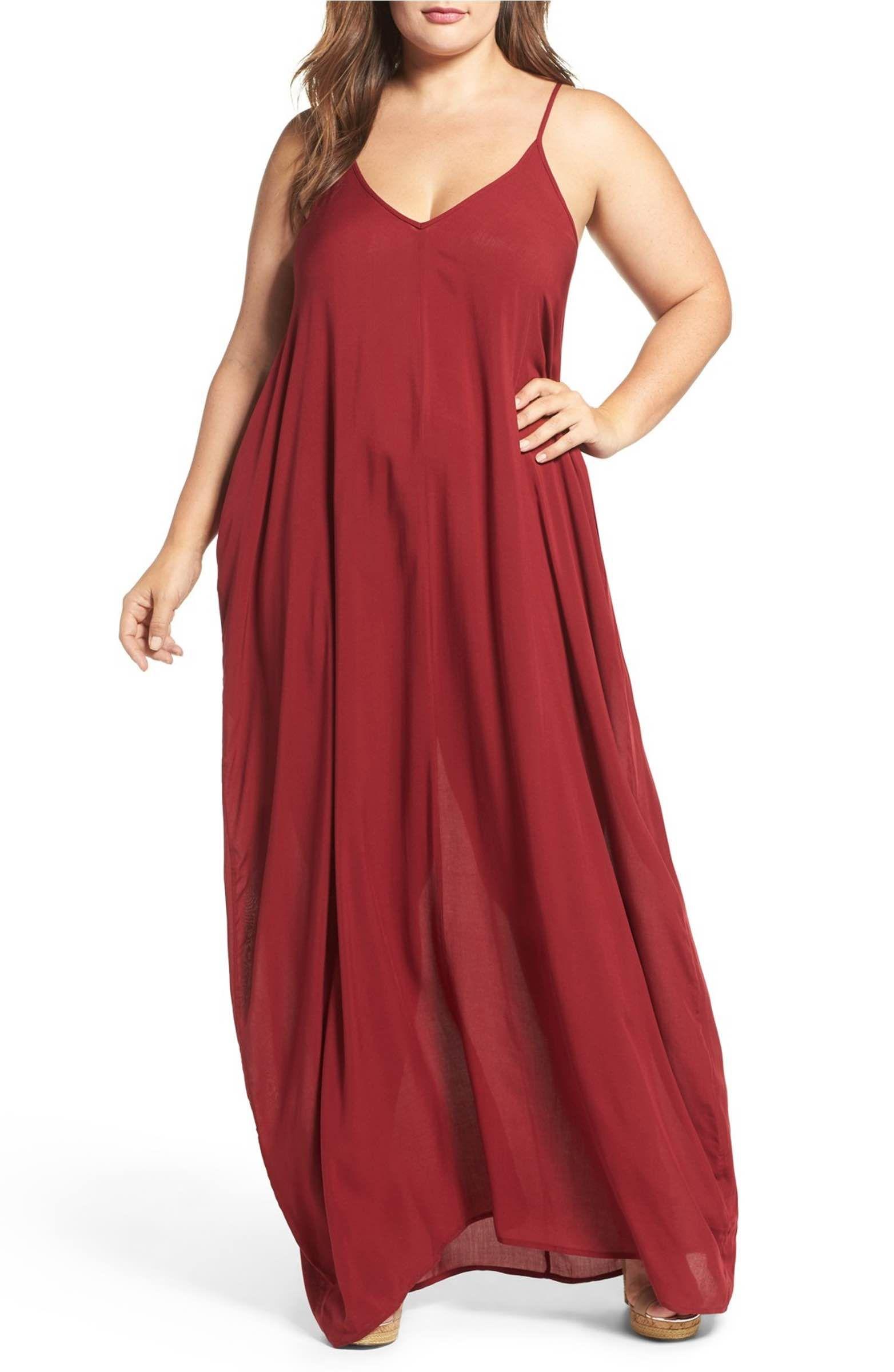 Main Image - Elan Cover-Up Maxi Dress (Plus Size)