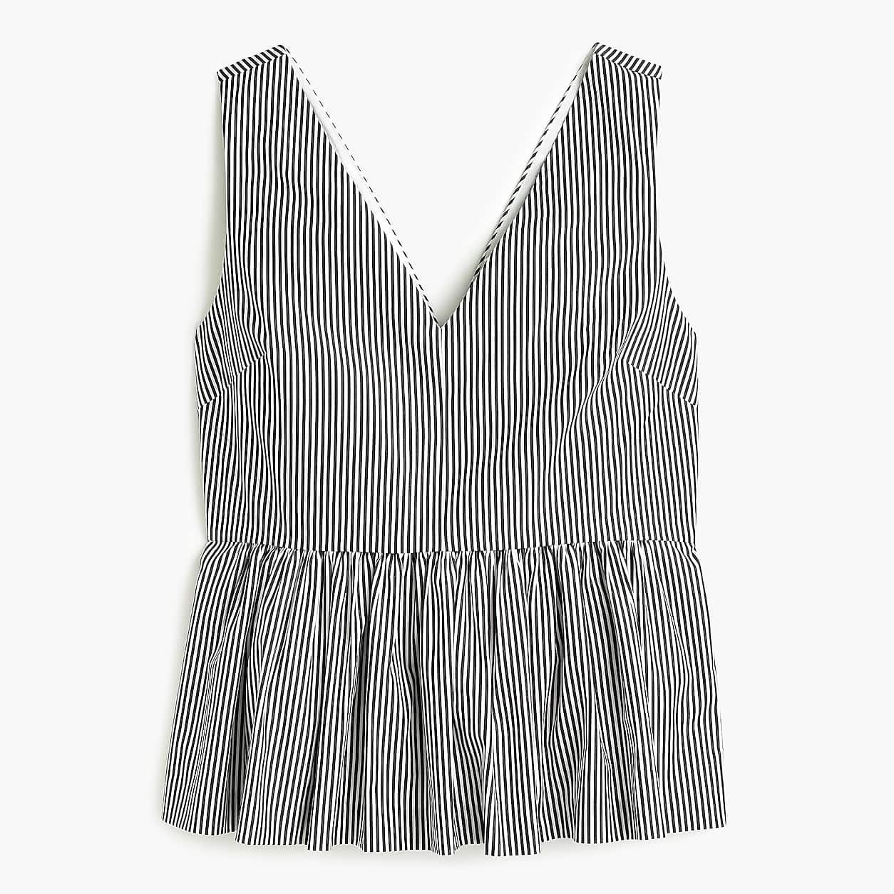 cbaa454ecc237 Petite Striped Sleeveless Peplum Top In Stretch Cotton Poplin ...