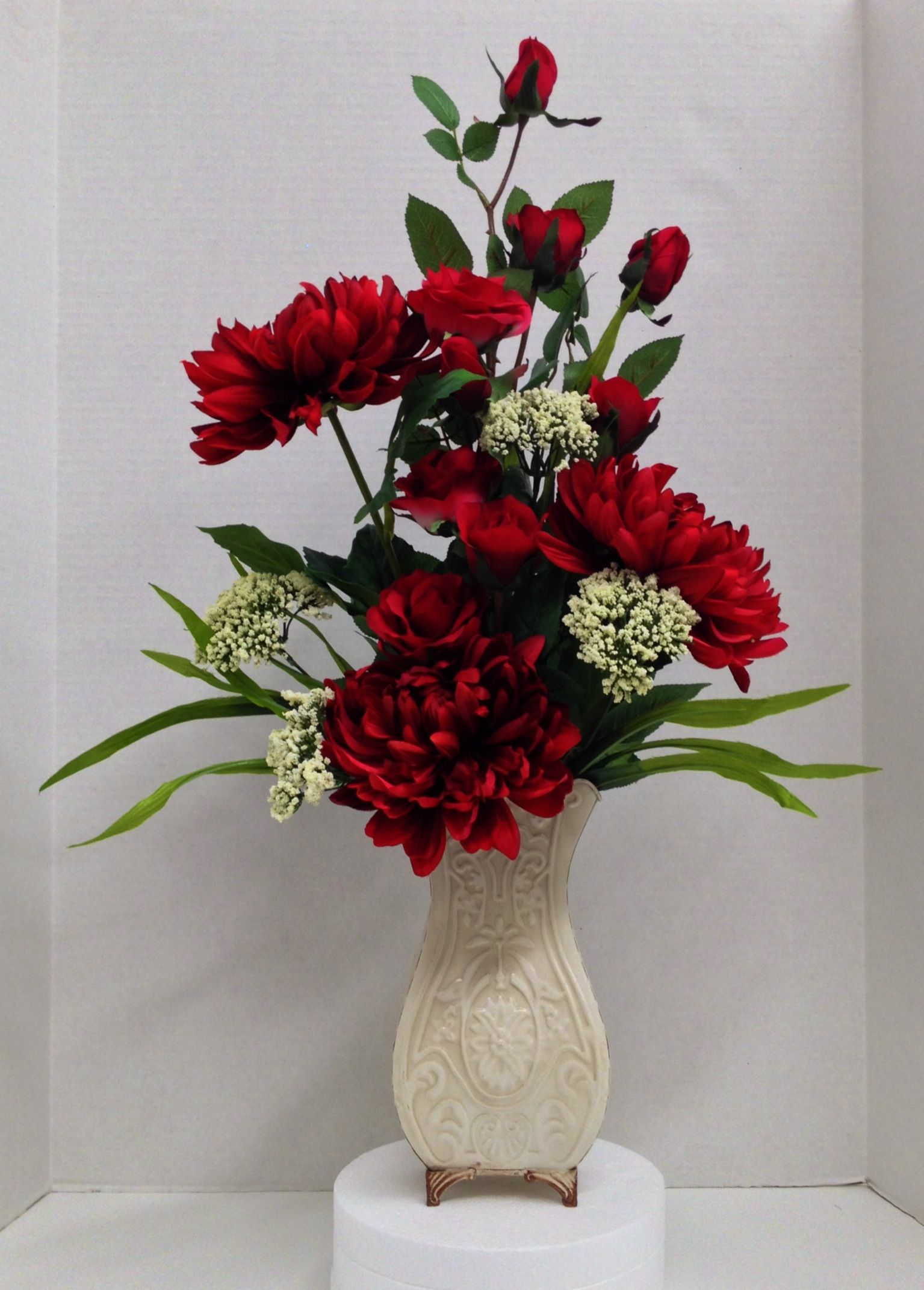 Flower Arrangement Spring 2014 Season Faux Red Roses & Dahlias