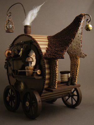 ♧ Charming Fairy Cottages ♧ garden faerie gnome & elf houses & miniature furniture - Fairy wagon