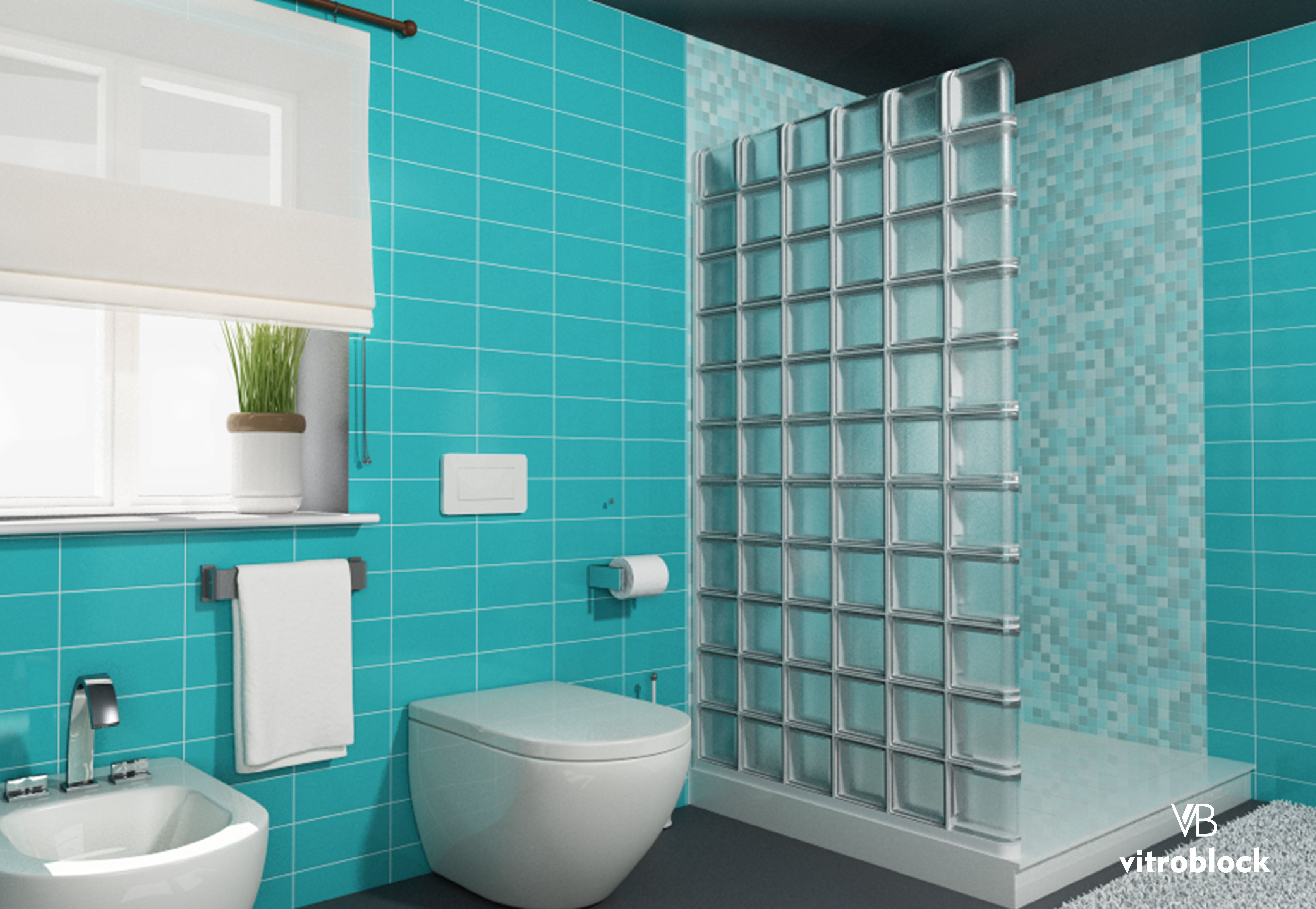 Pared divisoria de ducha realizada con ladrillo de vidrio - Modelos de banos y duchas ...