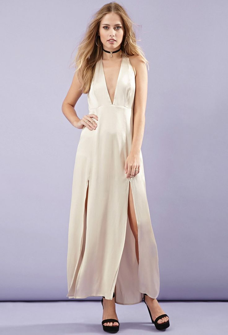 M-slit satin maxi dress