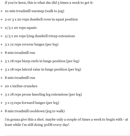 Supposedly the workout Jessica Simpson did every day for Dukes of Hazzard..? Either way looks like an awesome workout to me!