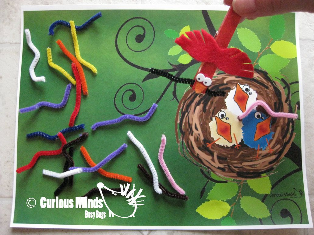 This Bag Focuses On Fine Motor Skills Kids Use The Bird To Pick Up Each Worm And Bring It To
