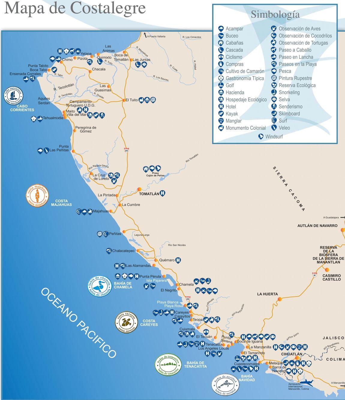 Mapa de la costa alegre Jalisco  Places  Pinterest  Mapa del