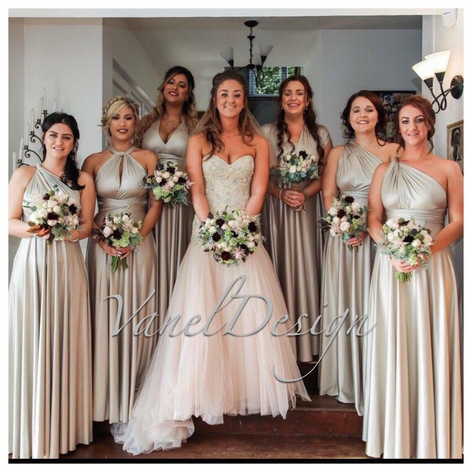 Luxe Satin Ballgown Multiway Infinity Dress In Light Gold Infinity Dress Bridesmaid Multiway Bridesmaid Dress Bridesmaid Dress Colors