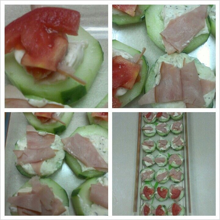 Healthy snack or party appetizer. Cucumber,herb cream cheese , ham & tomato