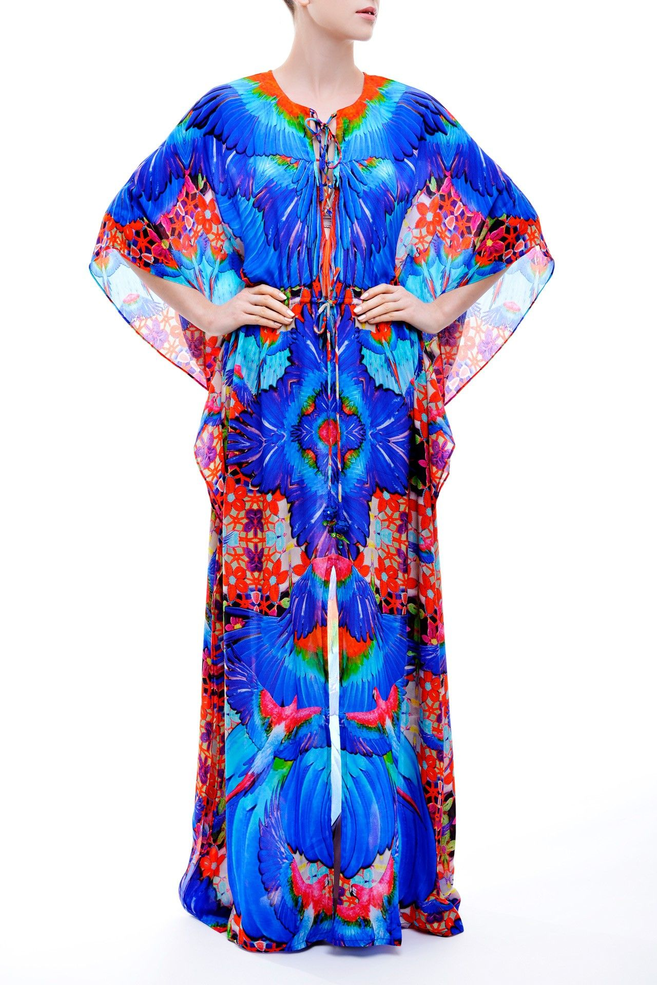 Long laceup multi wear kaftan dress in feathers print macaw momy