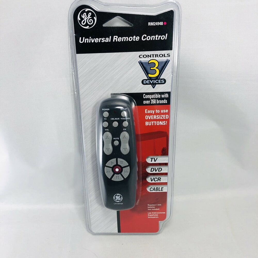 Universal Remote Control Ge 3 Device Rm24948 Black New In Package Ge Remote Control Universal Remote Control Remote