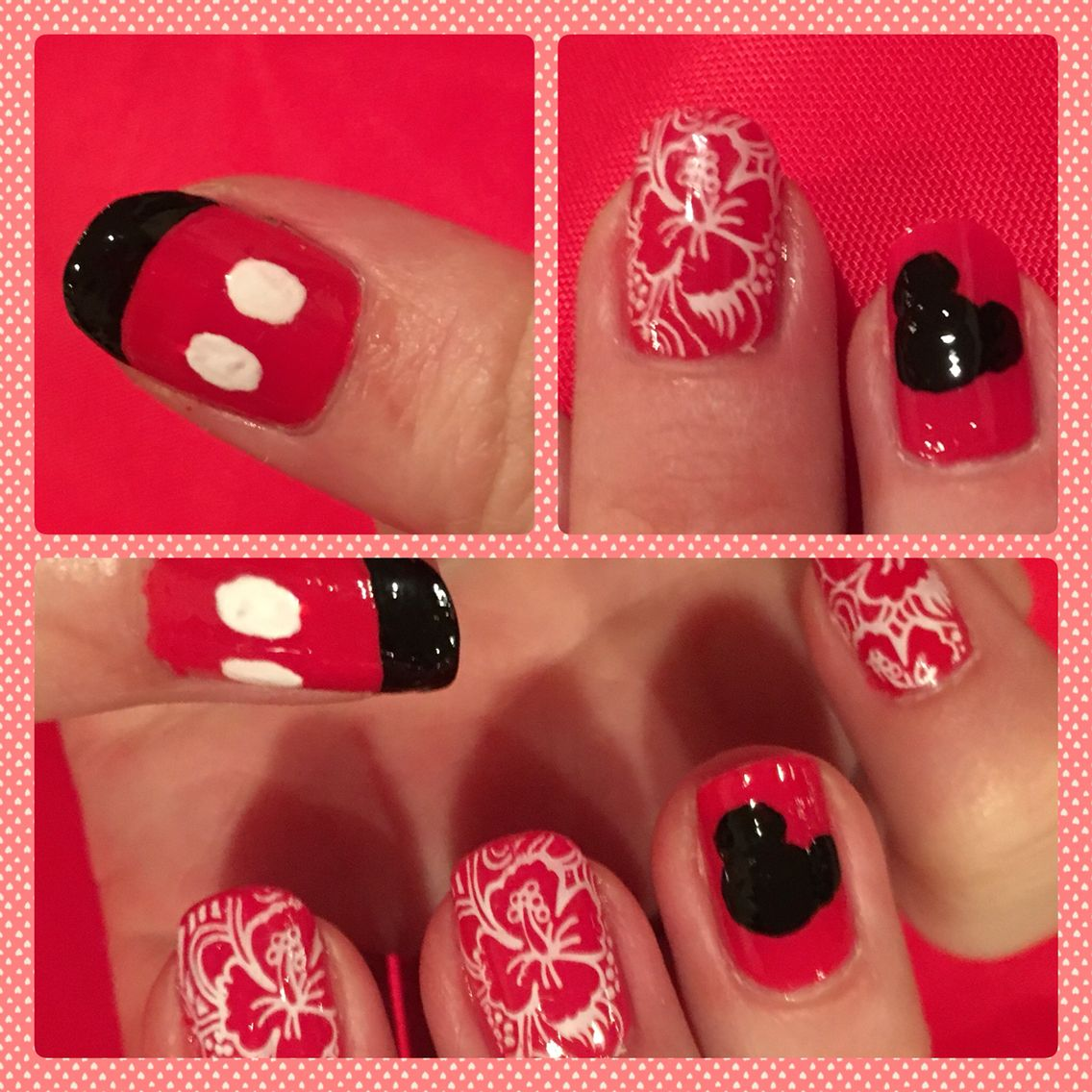 Aulani Inspired Mickey Mouse Nails, Paradise Pier Hotel Vacation Nail Art,  Hibiscus Flowers,