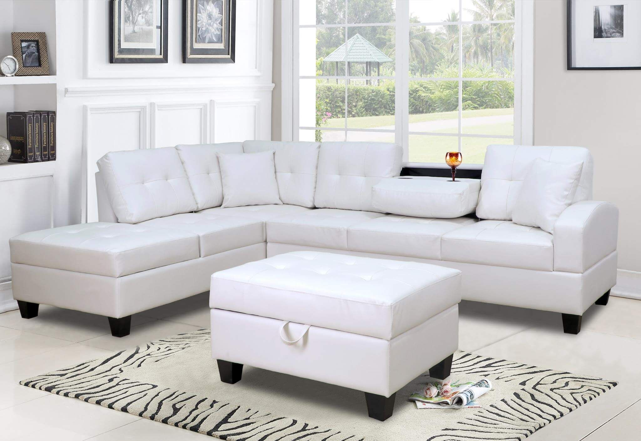 U5300 White Sectional W Free Ottoman Discontinued Sectional Sofa With Chaise Leather Sectional Sofas Sectional Sofa