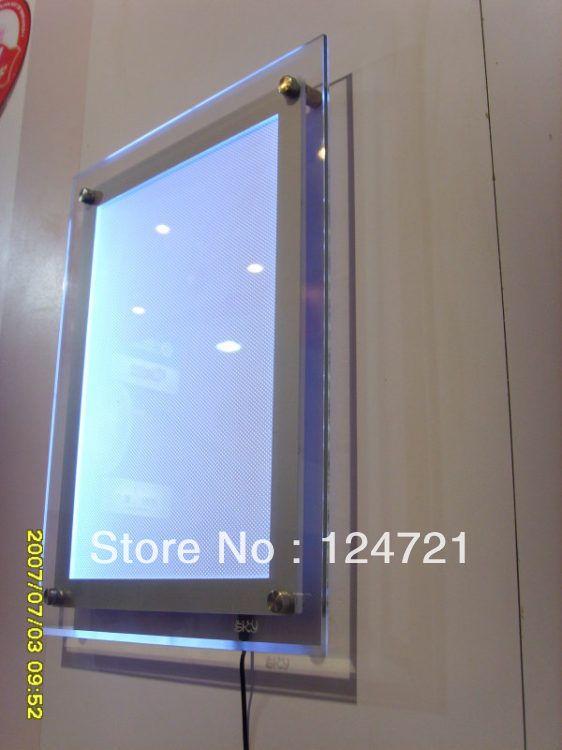 acrylic a3 size wall display led box