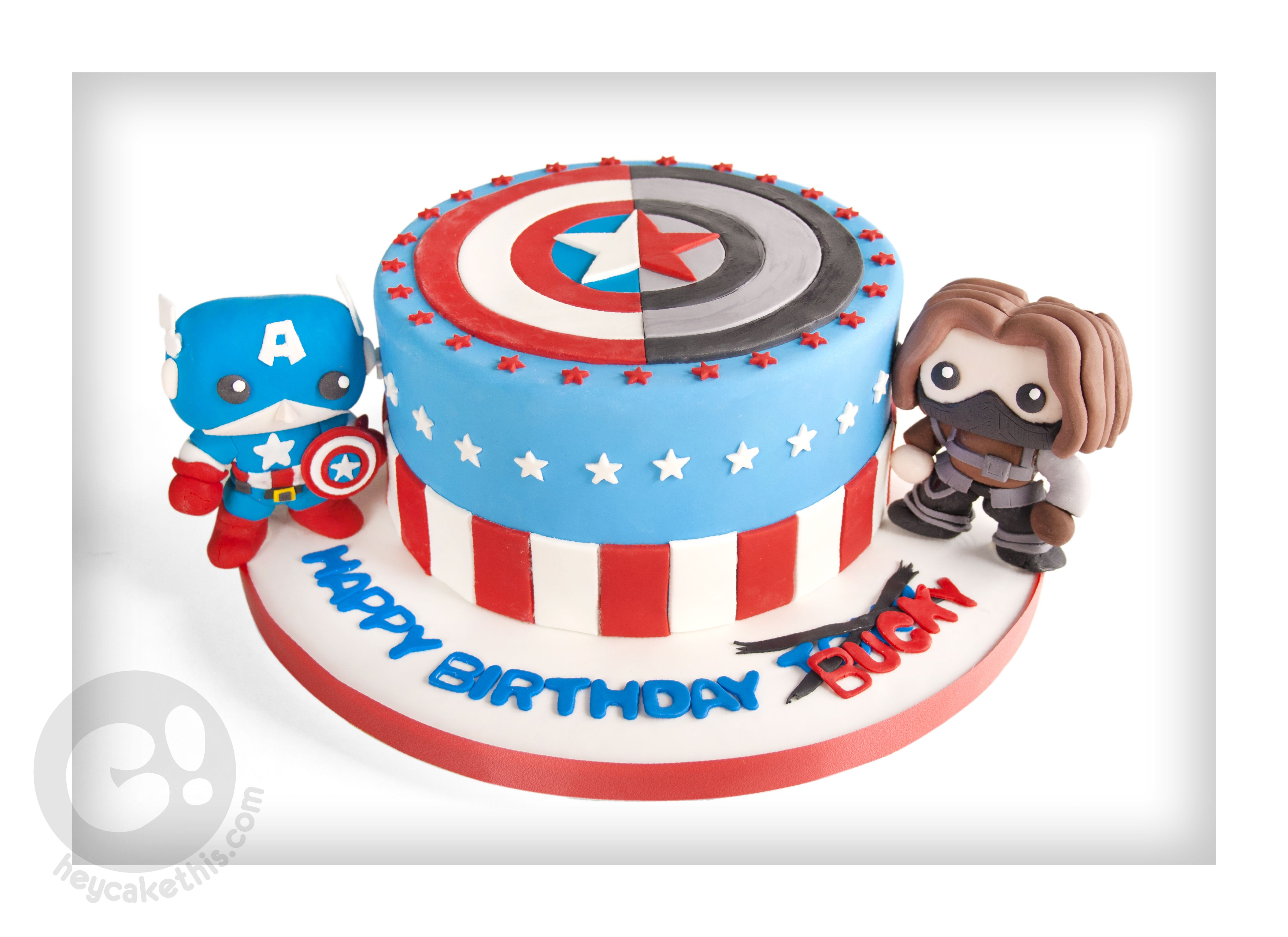 Pop Funko Bucky and Captain America birthday cake Nerdy Cakes