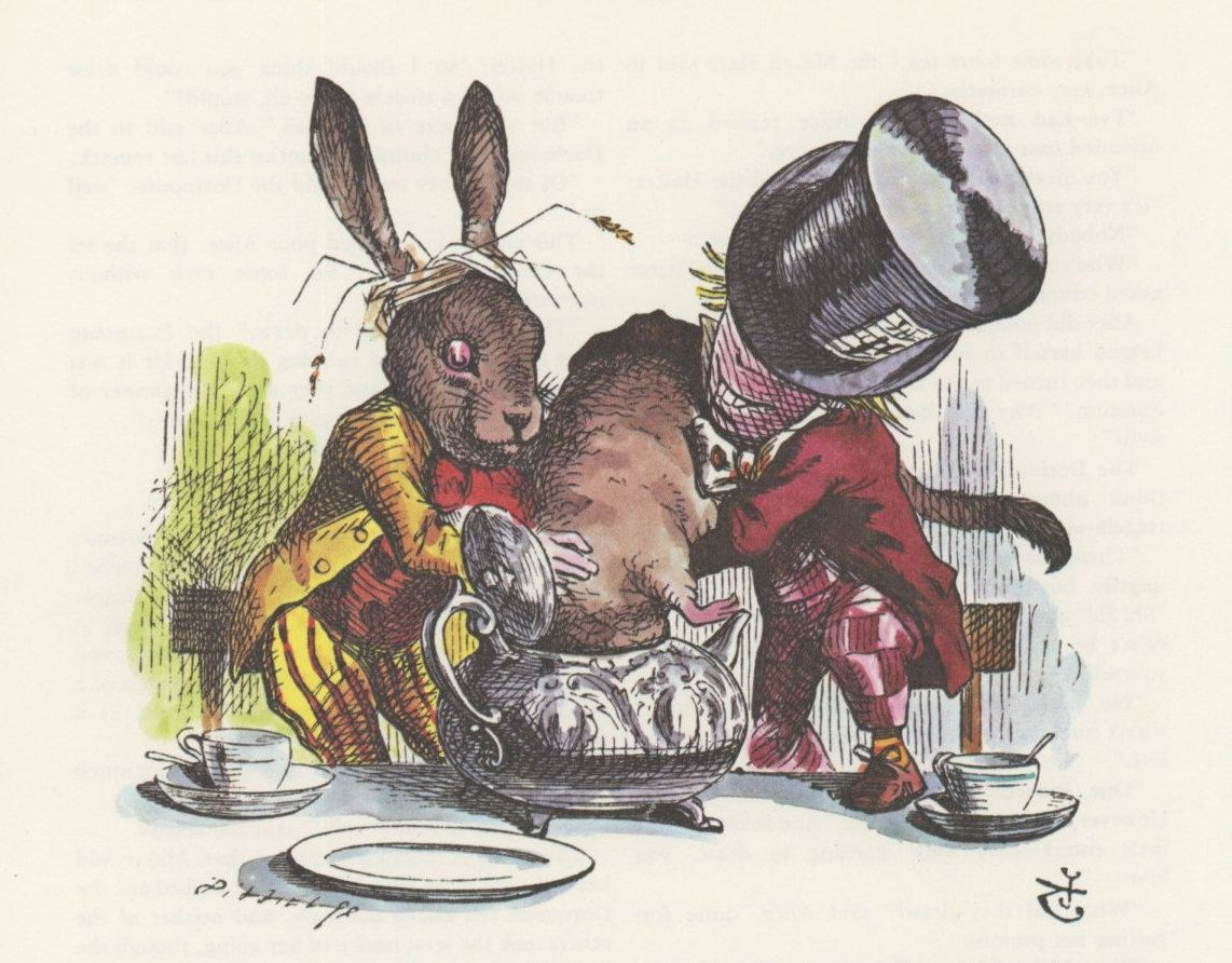 Mad Hatter And March Hare Stuff Mouse Into Tea Pot Alice In