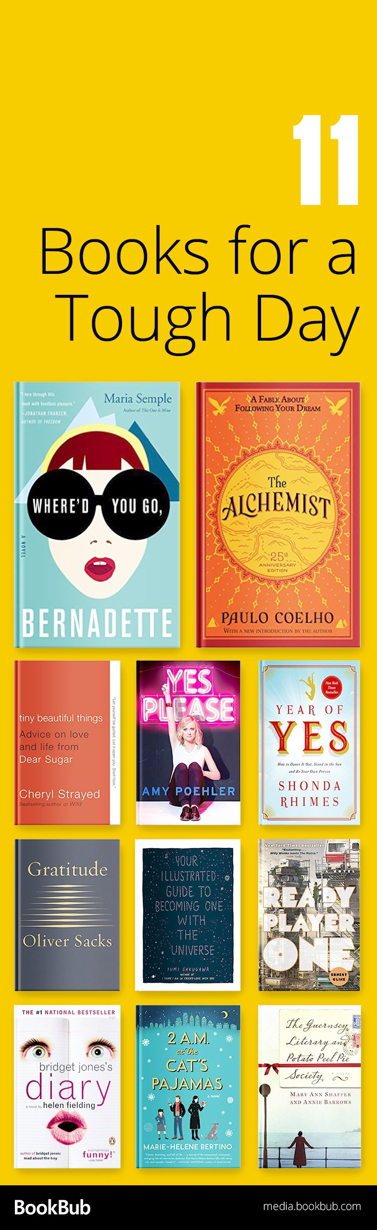 11 Books to Get You Through a Tough Day is part of Inspirational books, Book club books, Books to read, Book recommendations, Good books, Book suggestions - Including reads from Cheryl Strayed and Maria Semple