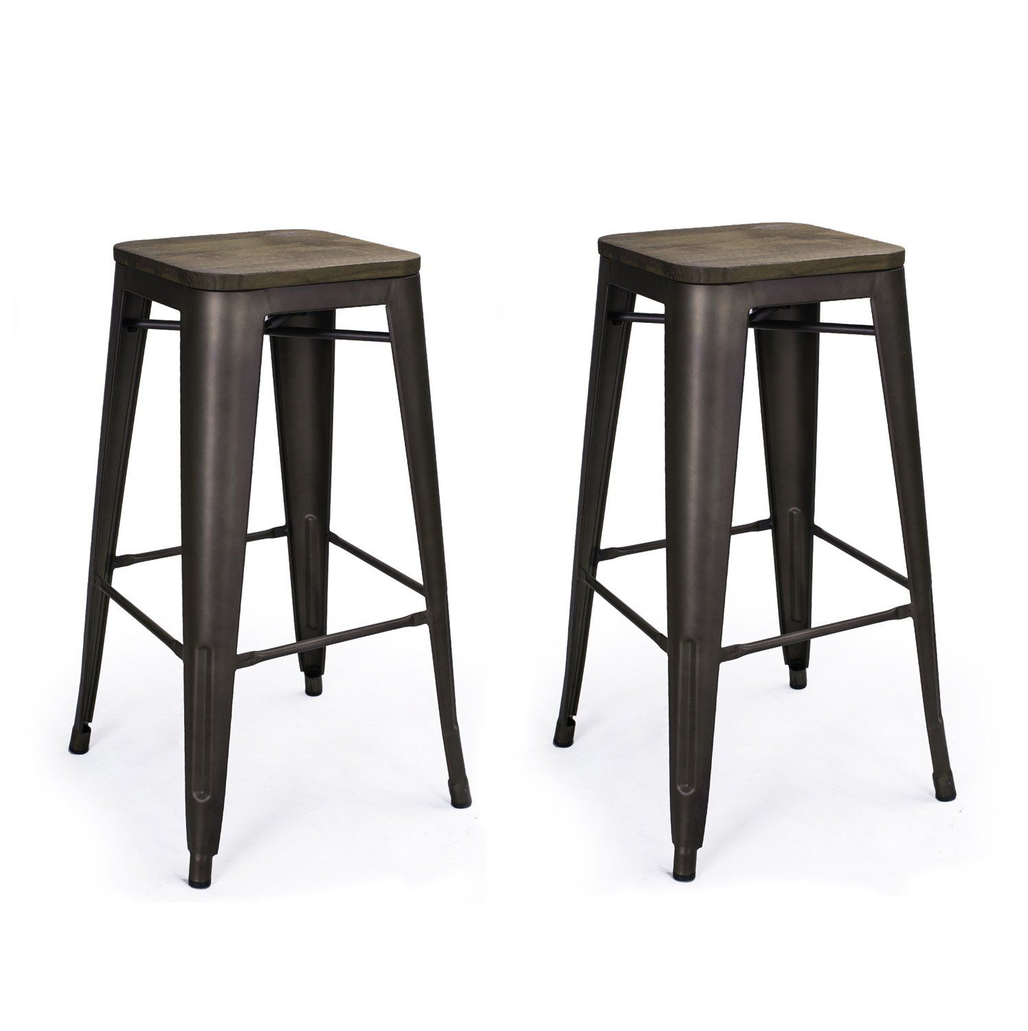 Homebeez Metal Barstools Backless With Wooden Seat Tolix Style