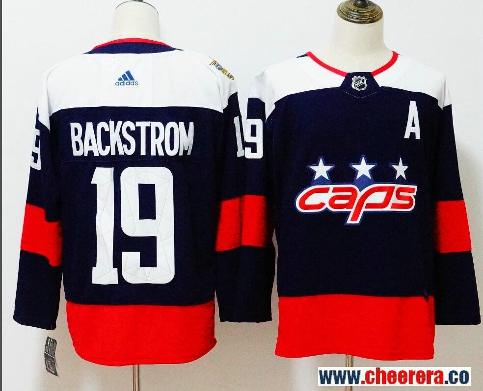 7723a436c Men s Washington Capitals  19 Nicklas Backstrom Navy Blue 2018 Stadium  Series Stitched NHL Hockey Jersey
