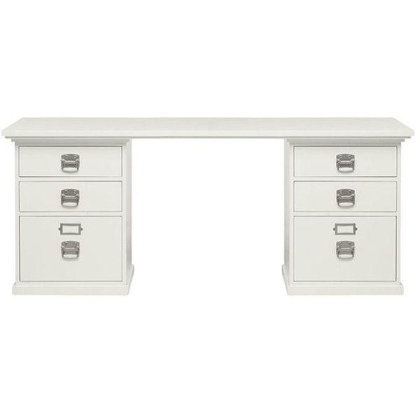 Pottery Barn Bedford 6 Drawer Rectangular Desk 879 Liked On Polyvore Featuring Home Furniture Desks Key Furnit Pottery Barn Desk Desk Set Modular Desk