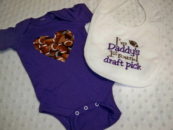 Baby Girl Football Bodysuit & Bib  Baby by grinsandgigglesbaby1, $19.99