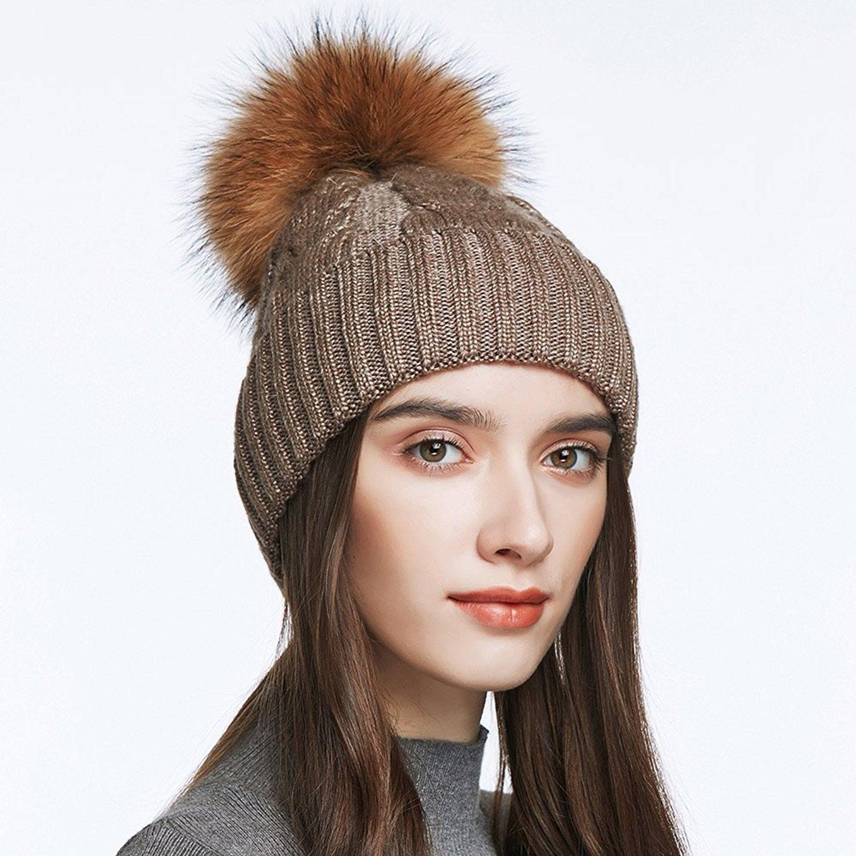 58ae3995d3d Unisex Winter Hat Womens Knit Wool Beret Cap with Fur Ball Pom Pom - Black  - C312MAJ8RFP in 2019
