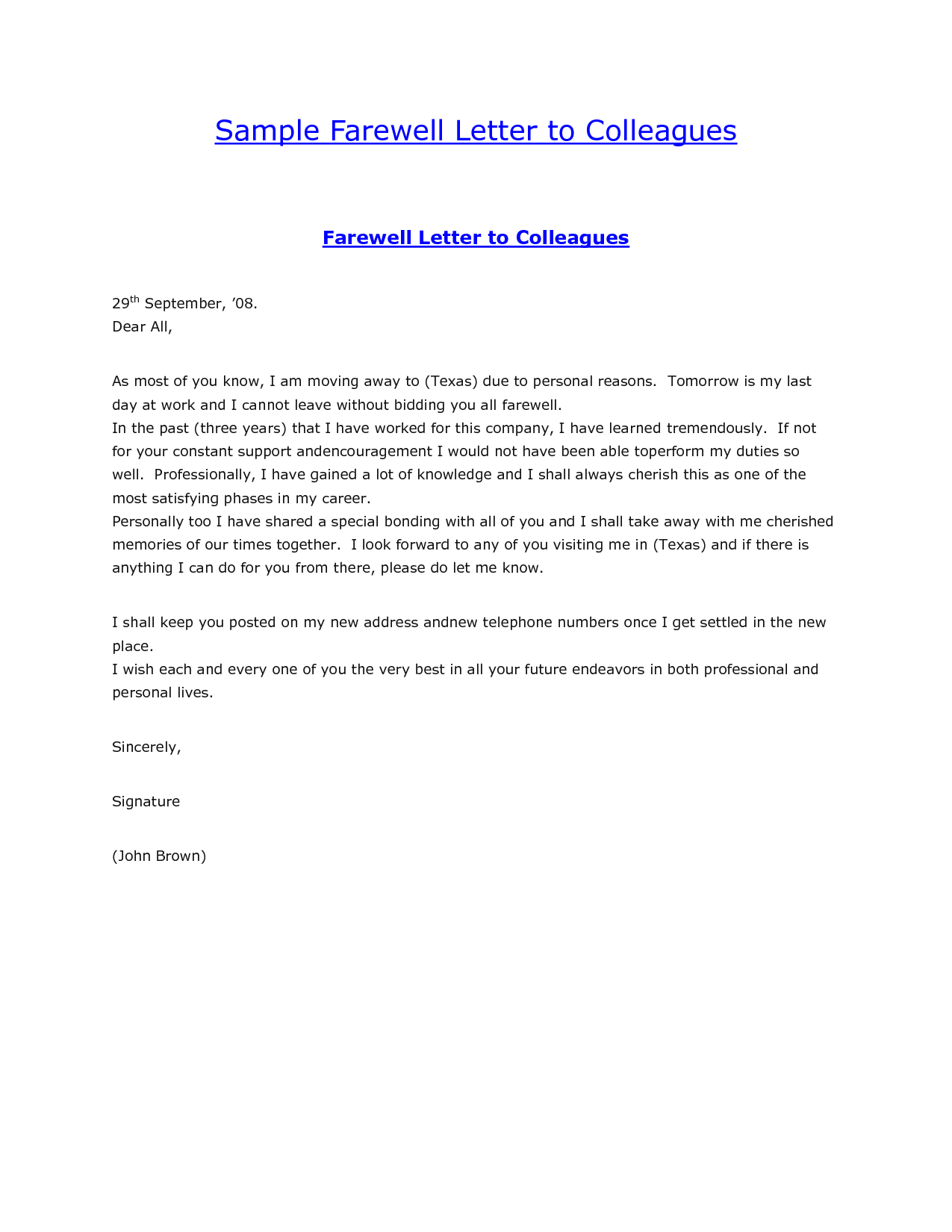 Sample Farewell Letter To ColleaguesGoodbye Letter Formal Letter Sample