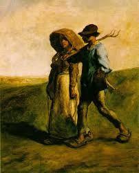 """Pintura a óleo sobre tela de Jean François Millet - """"Camponeses"""""""