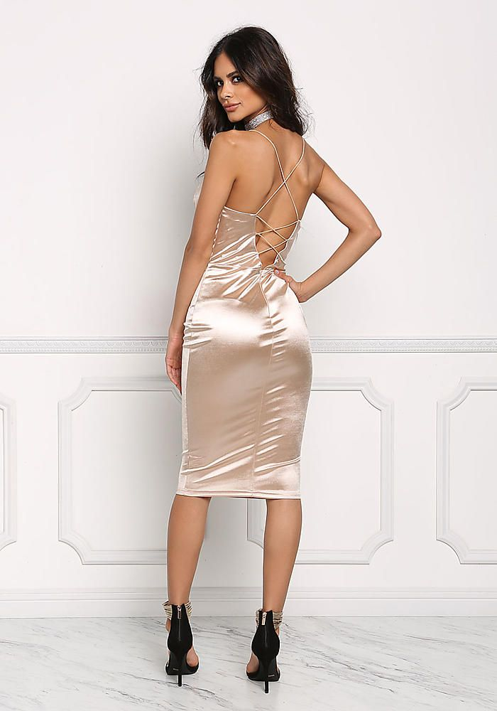 Champagne Satin Cross Strap Plunge Bodycon Dress - Going Out - Dresses 67a7bc8e62bc