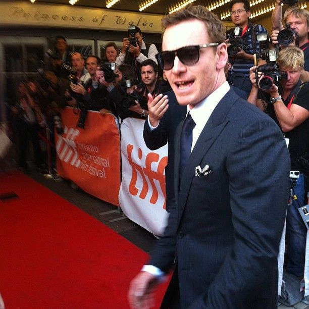 | TORONTO | Michael Fassbender arriving at the 12 YEARS A SLAVE red carpet!