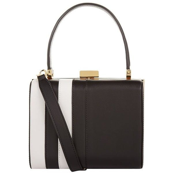 âme moi Amalia Box Bag (£590) ❤ liked on Polyvore featuring bags, handbags, black white purse, genuine leather purse, pocket purse, black and white stripe purse and stripe handbag