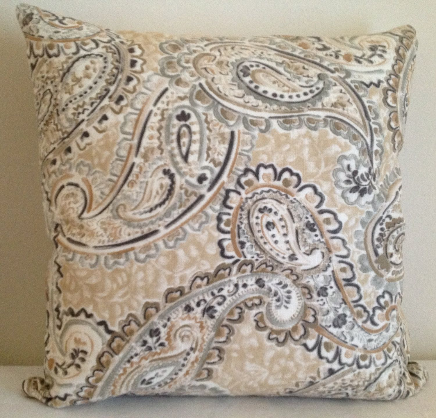 Decorative Paisley Throw Pillow Cover,20x20 Accent Pillow,brown,grey,black,white  Background