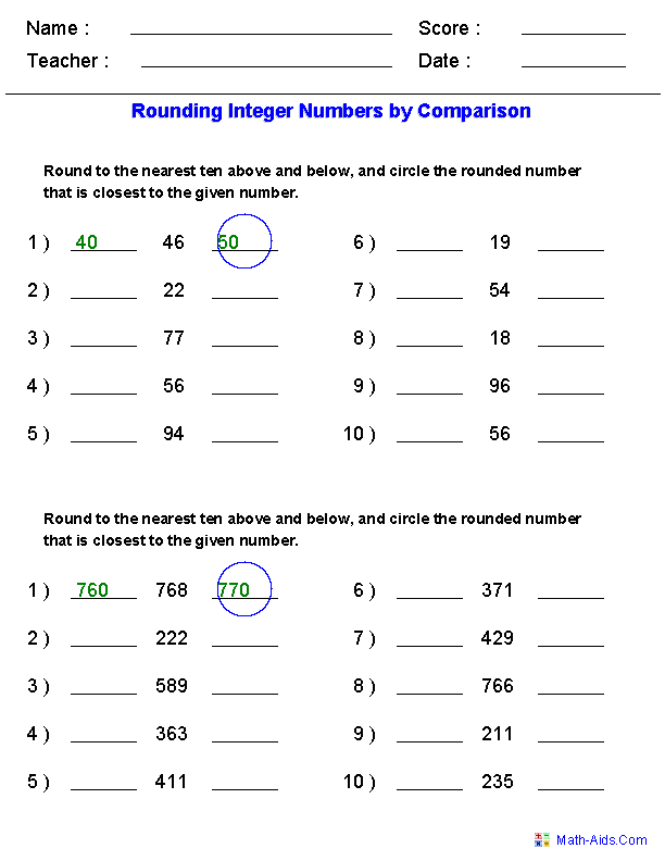 Rounding Worksheets For Integers By Comparison Rounding Worksheets Math Rounding Games Math Operations