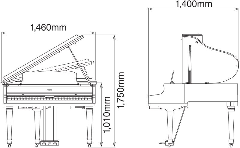 Grand piano dimensions and diagram google search piano for Size of baby grand piano