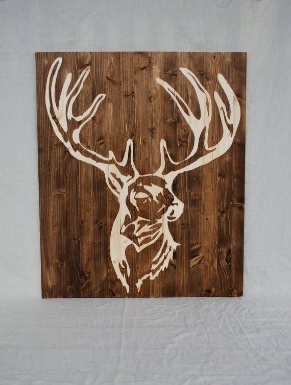 Wood stain deer silhouette wall art by craftyhandsfullheart