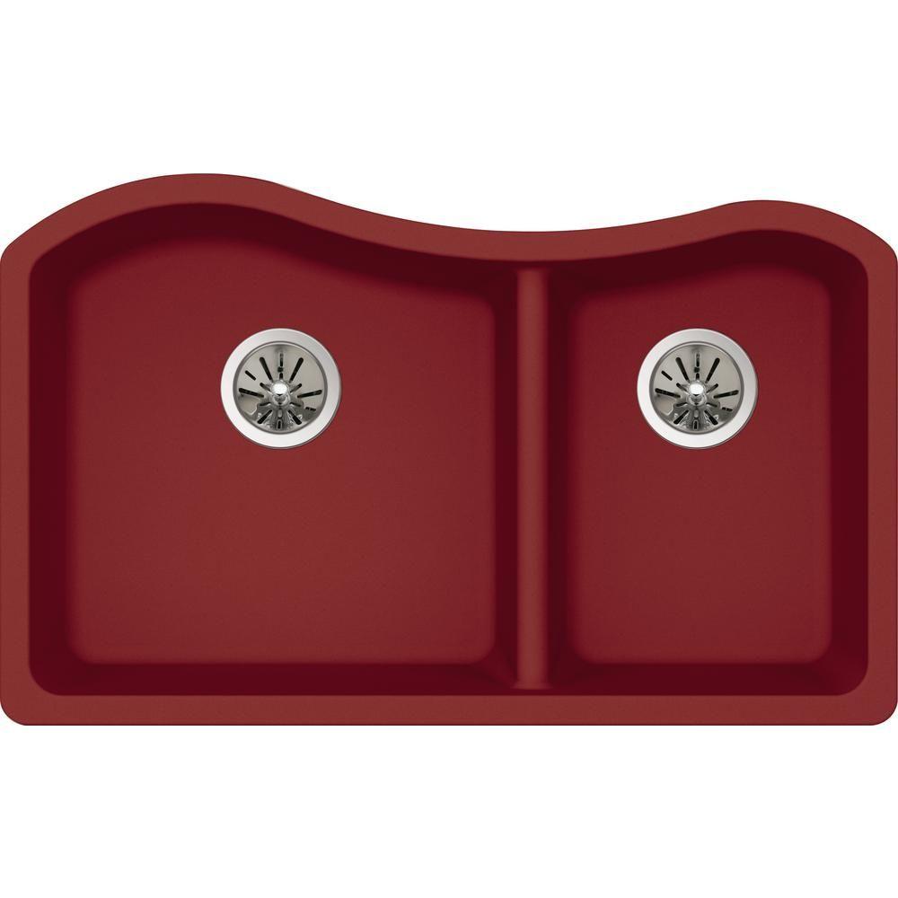 Premium Quartz Undermount Composite 33.5 in. Double Bowl Kitchen Sink in Maraschino