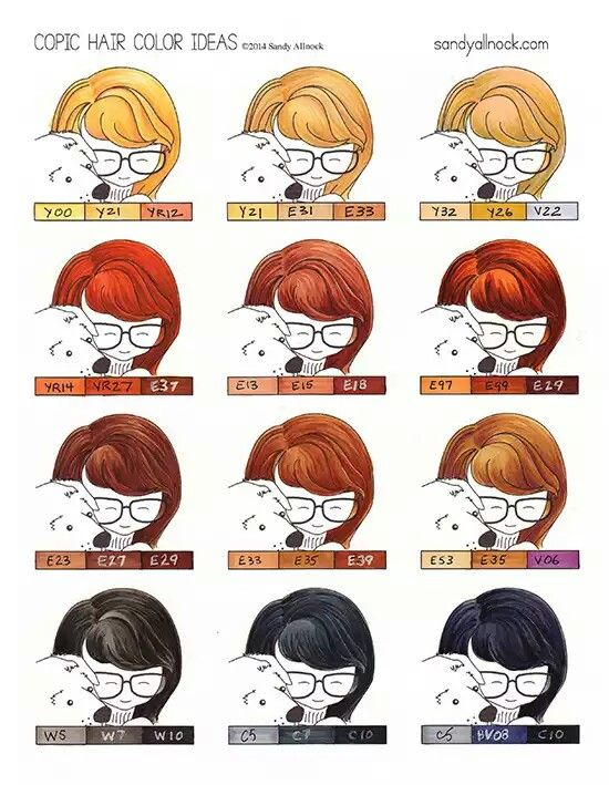 Give Me A Head With Hair Copic Marker Art Copic Color Chart Copic Coloring