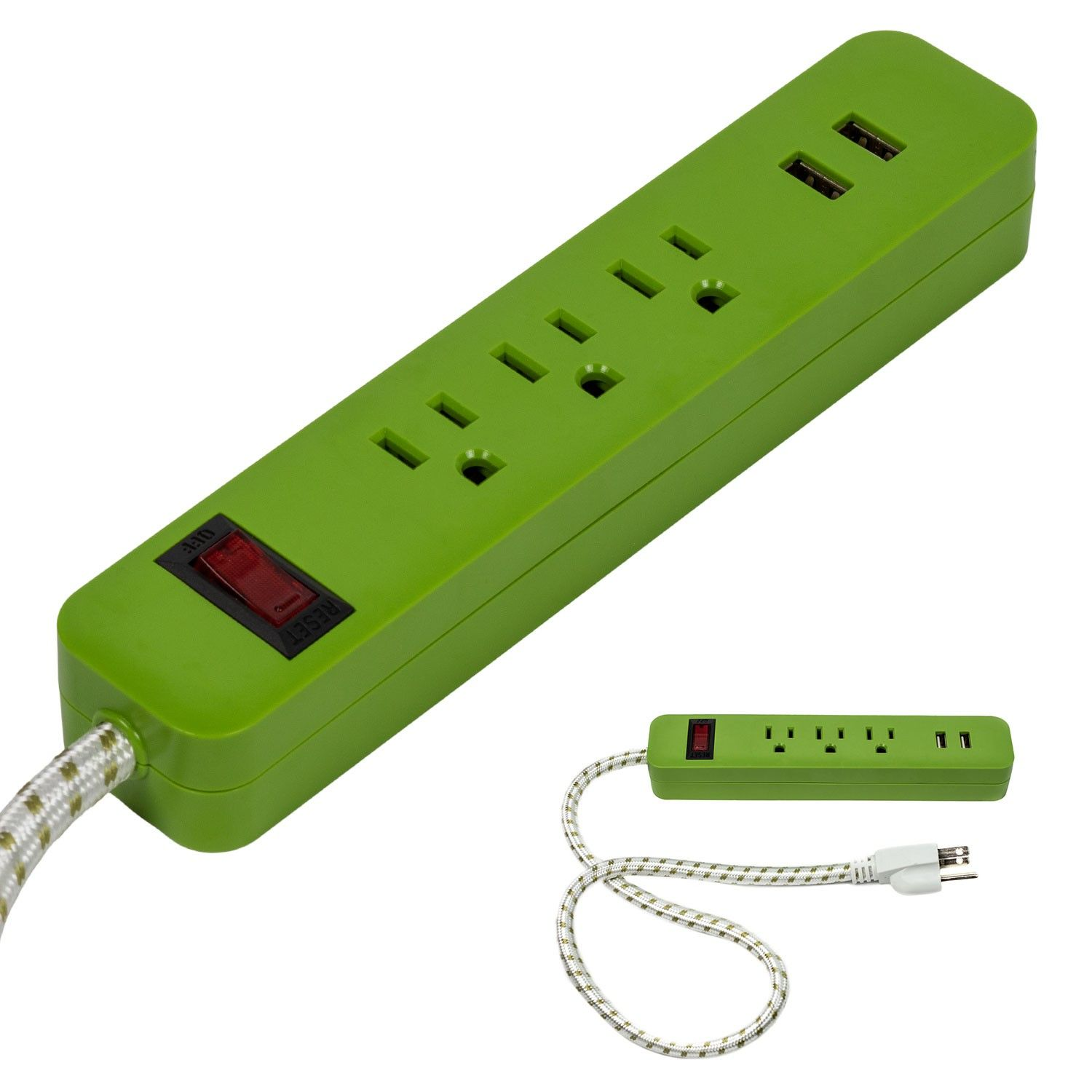 Brightway Green 3 Outlet 2 Usb Surge Protector Power Strip With 2 Braided Cord Discontinued No Longer Available Power Strip Surge Protector Usb