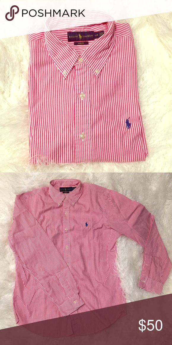 39ba9b9851c Polo Ralph Lauren slim fit long sleeve button up L Polo Ralph Lauren long  sleeve button up slim fit shirt. White and red stripe with blue horse. Worn  once.
